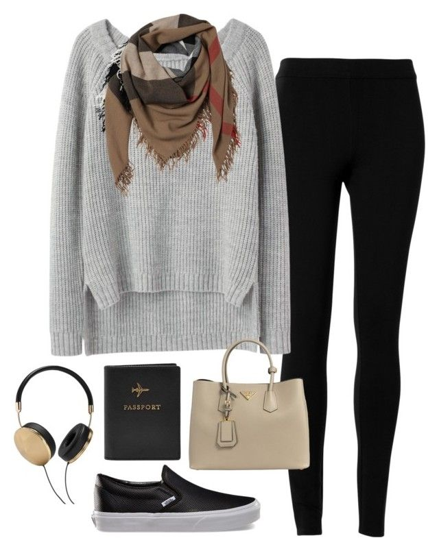"""""""airport attire: london"""" by izzycirillo ❤ liked on Polyvore featuring Max Studio, Vans, FOSSIL, rag & bone, Burberry, Prada and Frends"""