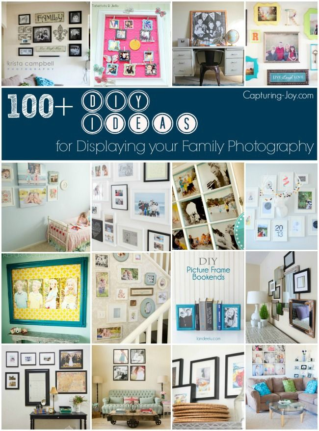 How to create a gallery wall plus over 100 other DIY Ideas in decorating with family photography!  Capturing-Joy.com