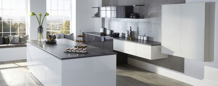 The Otto gloss kitchen, shown here in porcelain, is available online from Units Online