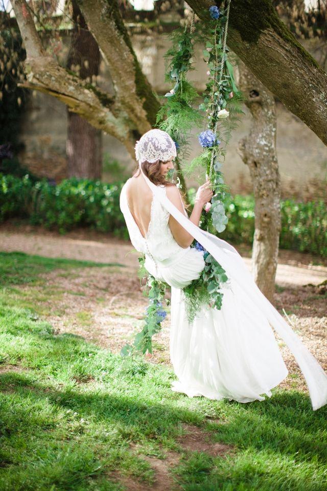 Flower adorned swing | Cat Hepple Photography and @FRweddingstyle | see more on: http://burnettsboards.com/2014/06/romantic-french-boho-elopement/ #weddingdress #veil