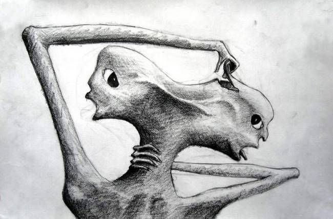This drawing was found in an old asylum, its artist  was a paranoid schizophrenic.