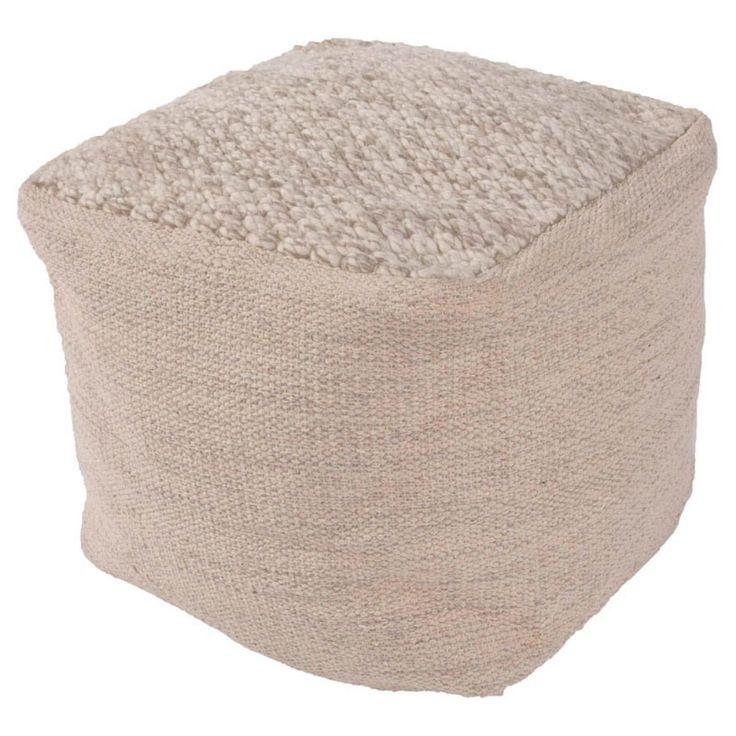 Jaipur Rugs Handmade Wool Scandanavian Cube Pouf - The Jaipur Rugs Handmade Wool Scandinavian Cube Pouf is a comfortable designer ottoman featuring contrasting surfaces in your choice of contemporary c...