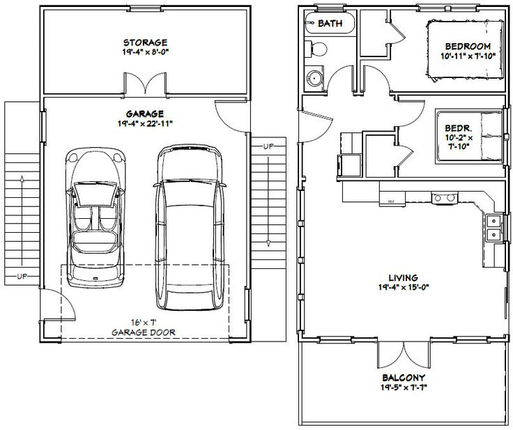 Garage Apartment Plans 24 X 30: 20x32 Tiny House -- #20X32H6C -- 808 Sq Ft