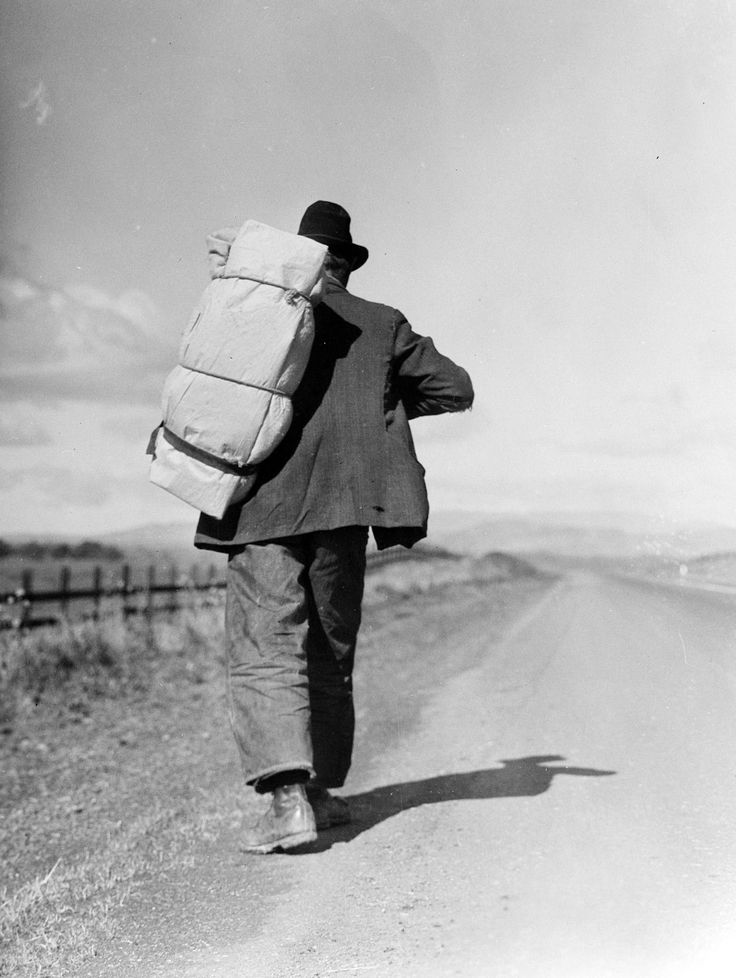 Migrant Walking – 1935;     Migrant worker on California highway;     Photographed by Dorothea Lange. -- www.zazzle.com/exit78*