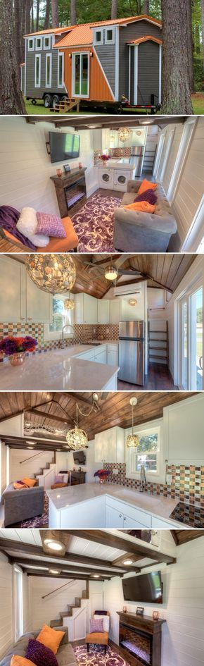 From Alabama Tiny Homes is another beautiful 28' Trinity tiny house on wheels, complete with a spacious living room and fully equipped kitchen. #tinyhouses #tinyhouseonwheels #tinyhome