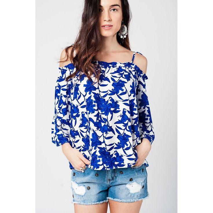 Blue Floral Print Cut Out Shoulders Blouse