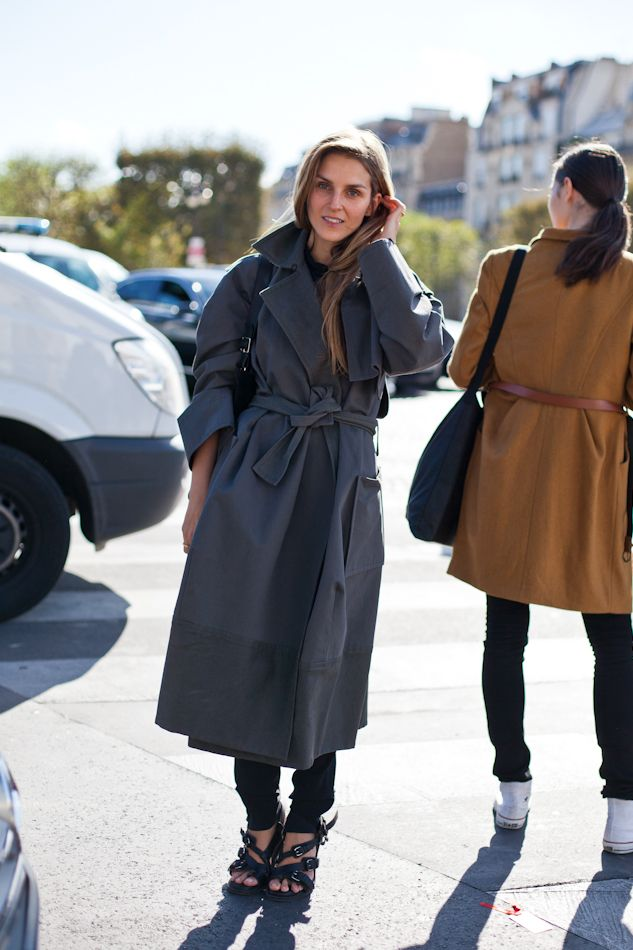 The very talented jewelry designer Gaia Repossi in a super cool Trench … #black #grey