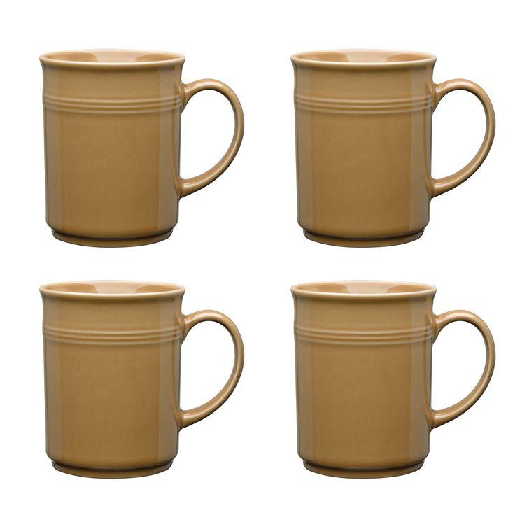 Culver Baristi Ceramic Mug 14-Ounce Set of 4 (Sand)