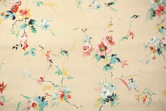 1930's Vintage Wallpaper - Antique Wallpaper Pink and Blue Flowers on Thin Stripe