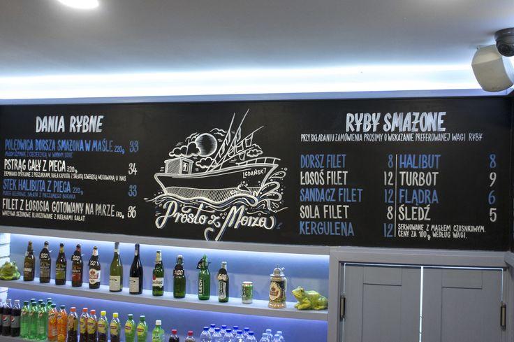 Chalk markers menu at Zagroda Rybacka, Gdansk, Poland by Aleks Skrok