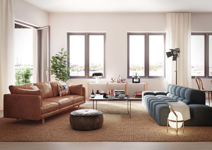 Tobin Properties #tobinproperties #etaget Rymmligt vardagsrum med plats för två soffor samt utgång till balkong