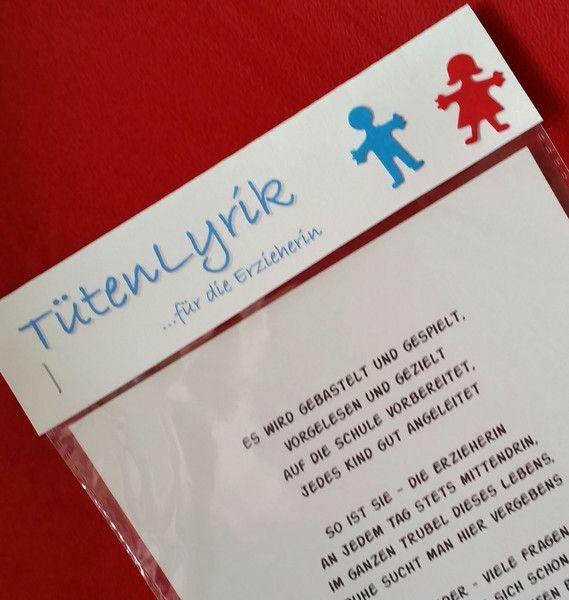 Geschenke für Frauen - Tütenlyrik....für Erzieherinnen - ein Designerstück von textatelier bei DaWanda