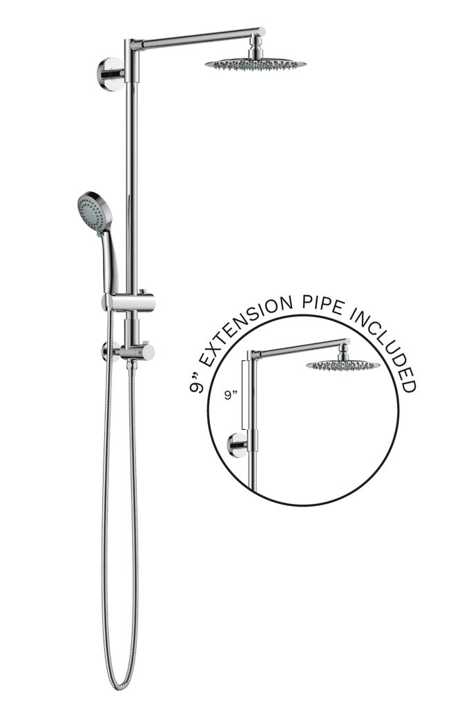 Polaris 3 is our new retrofit shower system, a rain shower head with handheld, designed to fit bathrooms with both low and high ceilings. If you have a high ceiling, the extension pipe provides more space under the shower.