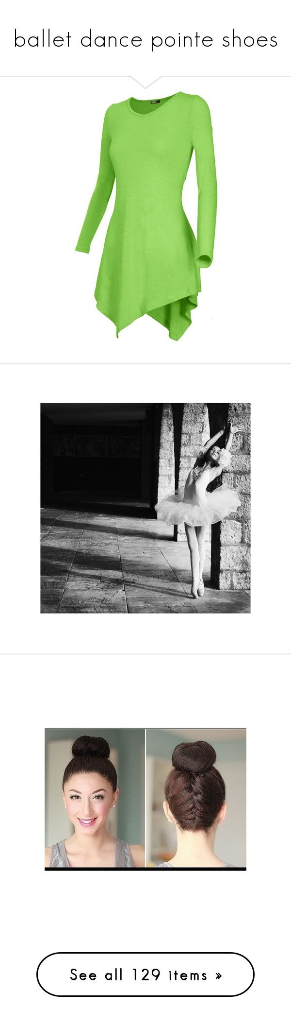 """""""ballet dance pointe shoes"""" by helena-lowry ❤ liked on Polyvore featuring tops, tunics, shirts, long sleeve tops, green top, green long sleeve top, green long sleeve shirt, green shirt, dance and ballet"""