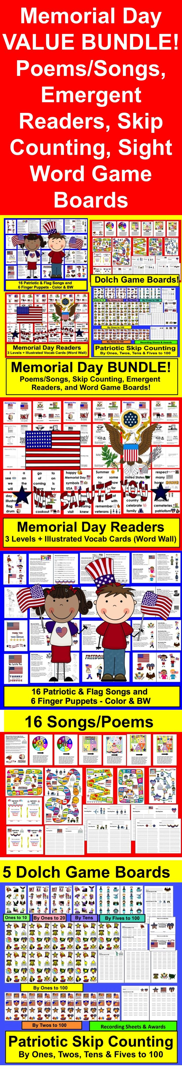 $ Memorial Day BUNDLE VALUE - A $5.00 Savings.. Early Primary Grades   ★ 94+ Pages - All 4 Products in This Bundle have a 4.0 Rating!  1) Memorial Day  Readers ★ 3 Reading Levels + Illustrated Vocabulary Cards for Word Wall or Pocket Chart)  2) Memorial Day Poems and Songs  ★ 16 Poems in Color and B/W for Students to Color  3) Memorial Day Counting and Skip Counting Activities by ones, twos, fives, and tens to 100.  4) A Set of 5 Patriotic Game Boards for the First 100 Dolch Sight Words