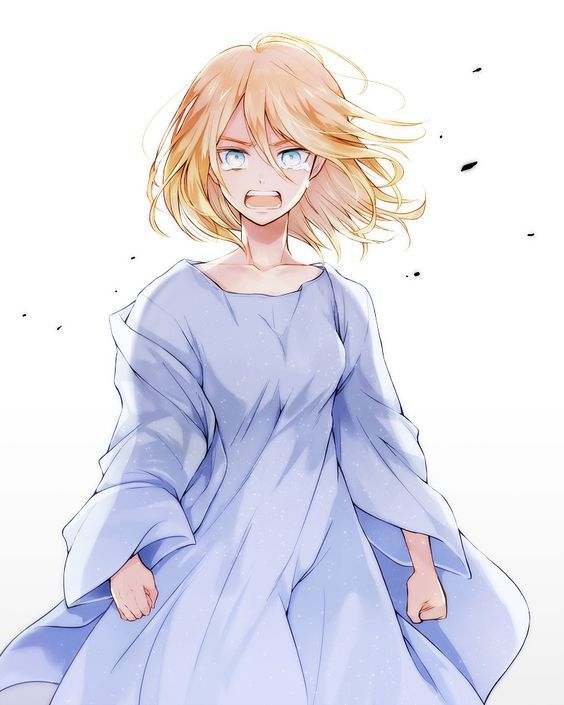 Anime, shingeki no kyojin, attack on titan, snk, art, Christa Renz, Blonde hair, crying, blue dress: