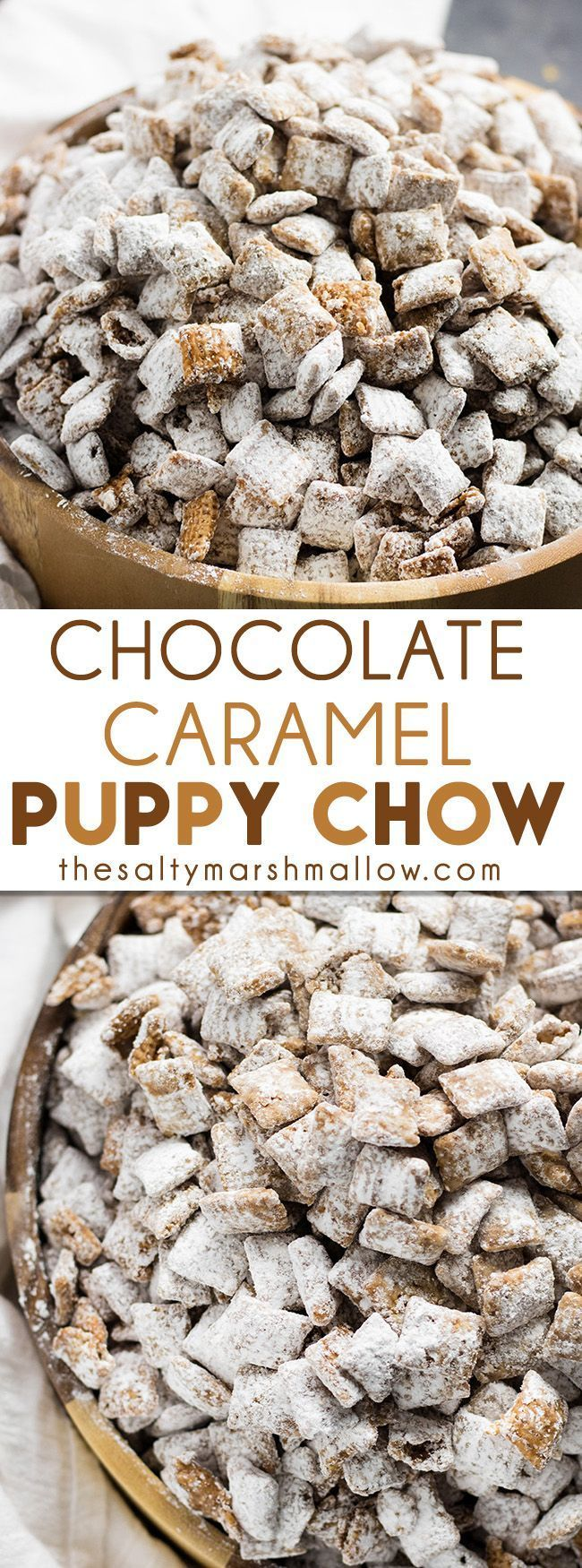 Chocolate Caramel Puppy Chow - an easy and tasty twist on the original!  This puppy chow is packed with chocolate caramel flavor! @InDelight