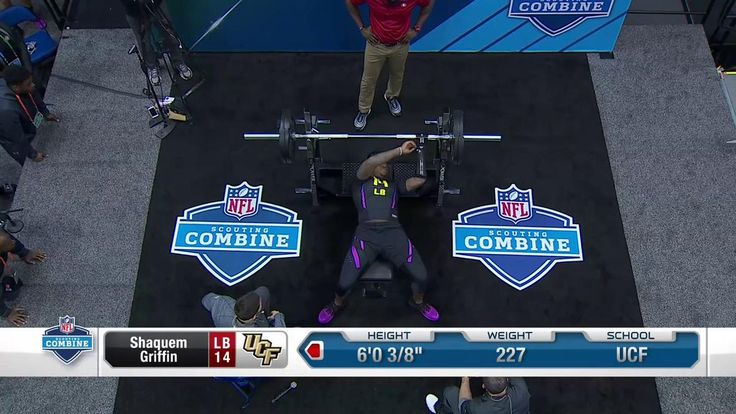 Absolutely amazing. @ShaquemGriffin puts up 20 reps on the bench press.  📺: #NFLCombine LIVE on NFL Network | theScore.com