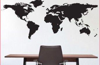wereldkaart-muursticker-slaapkamer-woonkamer-kinderkamer-kantoor-silhouette-zwart-wit-zilver-grijs-goud-alle-kleuren-tekst