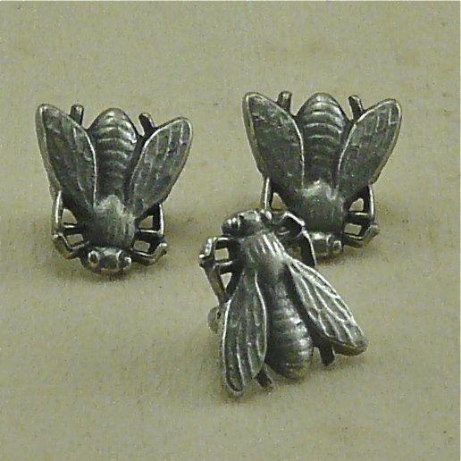"""1/2"""" Buzz Bee Antique Silver tiny Button Buttons. $1.90, via Etsy."""