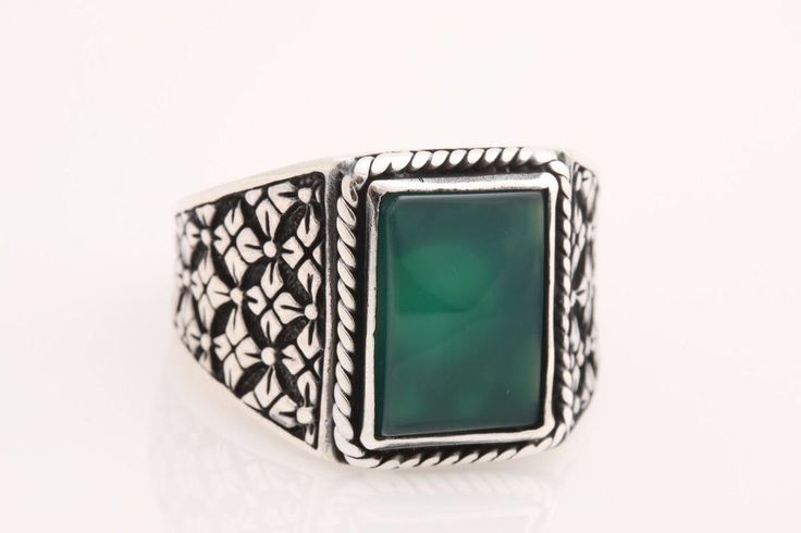 Turkish Jewelry Rectangle Emeral 925 Sterling Silver Men's Ring Size 11.5 | eBay