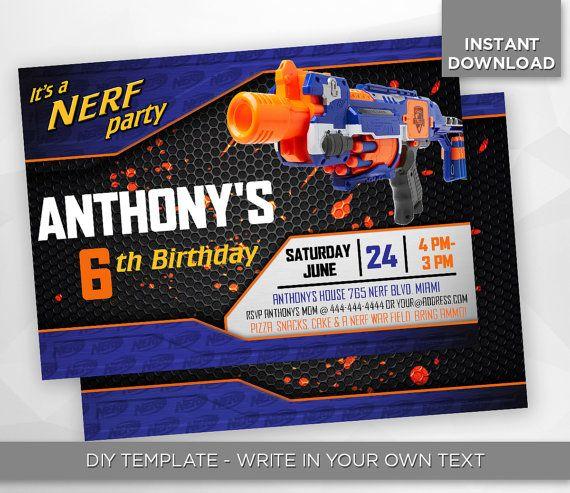 SALE - 80% OFF Nerf Invitation, Nerf Wars, Birthday Party Invite, Nerf War Editable Printable Digital PDF - Instant Download