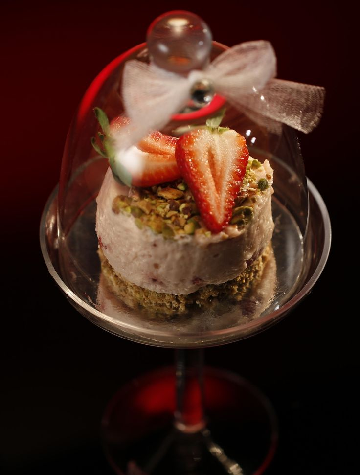 Jenna and Joanna's Pistachio and Strawberry Mousse with a Dacquoise Base (from season 4 of My Kitchen Rules) is almost too beautiful to eat. Almost.