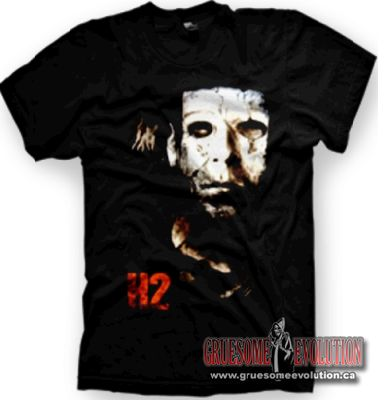H2 t-shirt from the Rob Zombie Halloween movie, with a silhouette of Michael Myers beside the H2 logo.  Size small only.