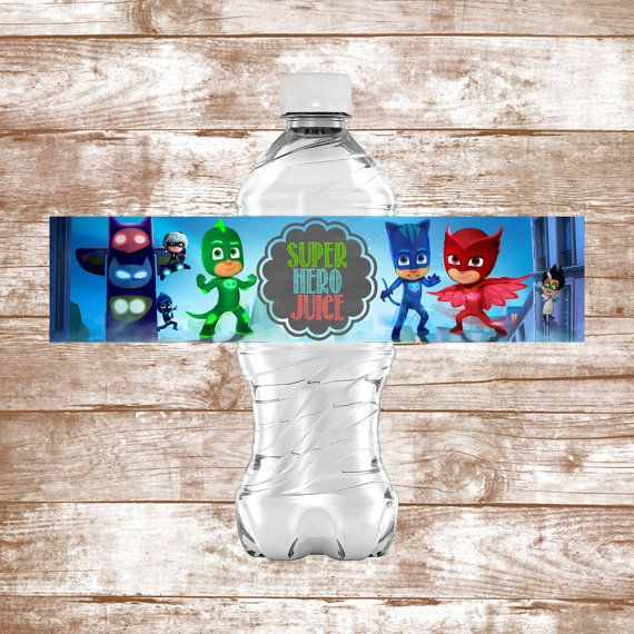INSTANT DOWNLOAD PJ Masks Water Bottle Labels by WaterLilyBows