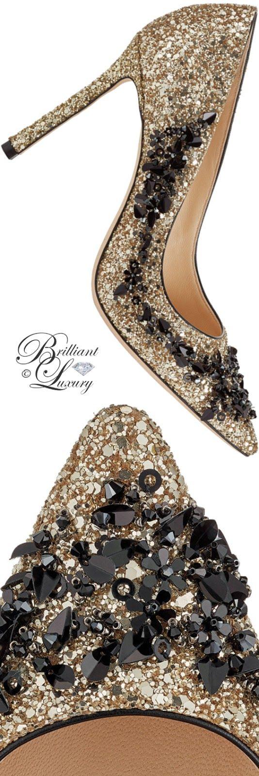 Brilliant Luxury ♦ Jimmy Choo Romy Gold Coarse Glitter Fabric Pointy Toe Pumps