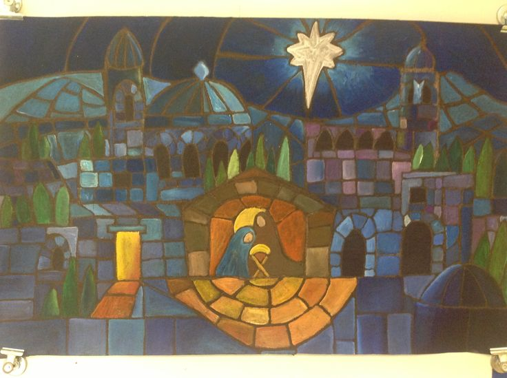 This is my rendition of the nativity stained glass image I found on Pinterest. I modeled this for my students in a project I borrowed from Deanna Smith using roofing felt hotel soap and acrylic paint. It was a smashing success!!!