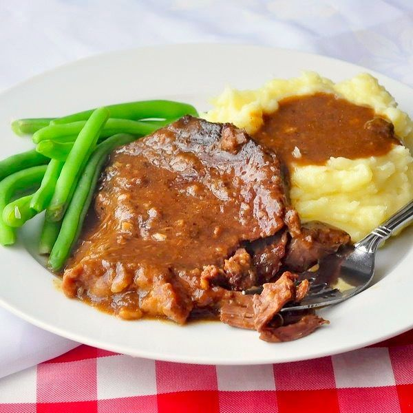 This stewed steak is a satisfying, cold weather comfort food meal that slow cooks in the oven for a few hours as the meat tenderizes & forms its own gravy.
