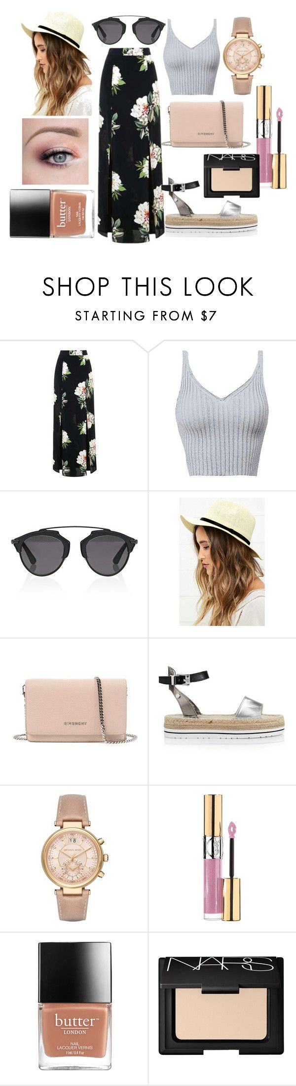 """""""Untitled #67"""" by rebecca-hz on Polyvore featuring Topshop, Christian Dior, LULUS, Givenchy, Love Moschino, Michael Kors, Yves Saint Laurent and NARS Cosmetics"""