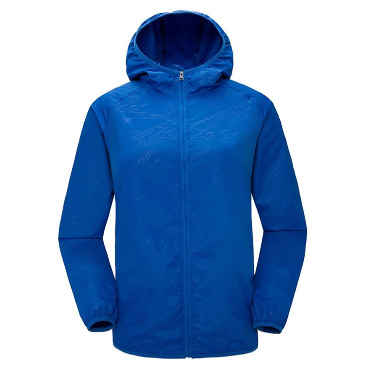 Simple Women's Men's Sun Care Jackets Lightweight Waterproof sunscreen jacket blue. Material: 100% polyester. Thin air perfect version of the hood design. New long section of sunscreen, wear, ultra-light, anti-ultraviolet, moisture perspiration, waterproof, quick-drying, windproof, breathable. Application: outdoor climbing, fishing, travel, picnic, driving, general, camping, riding, walking. Sunscreen can effectively block ultraviolet rays in hot summer months and keep skin from UV damage.