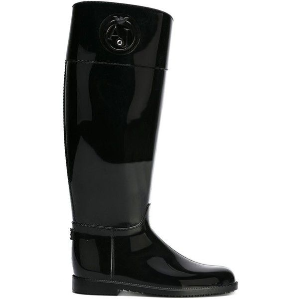 ARMANI JEANS Embossed Logo Rain Boots ($122) ❤ liked on Polyvore featuring shoes, boots, wellies boots, black rain boots, black boots, black wedge boots and rubber boots