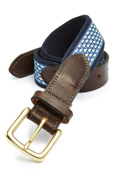 Vineyard Vines 'Whale Club' Leather & Canvas Belt | Nordstrom