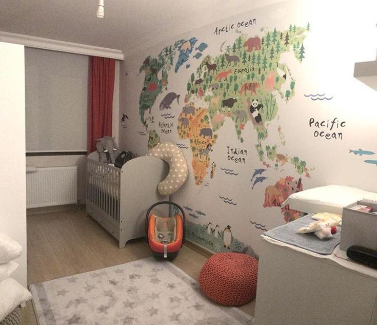 Çocuk Odası Dekorasyonu - Bebek Odası Dekor - Çocuklar İçin Dünya Haritası - Hayvanlar Alemi Dünya Haritası - Çocuk Odası İç Mimari - Duvargiydir.com