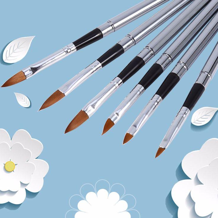 Nail Painting Brush Salon Manicure Nylon Hair Acrylic UV Gel 3D Drawing Dotting Pen Tool Nail Art Pen Set 6Pcs/Set