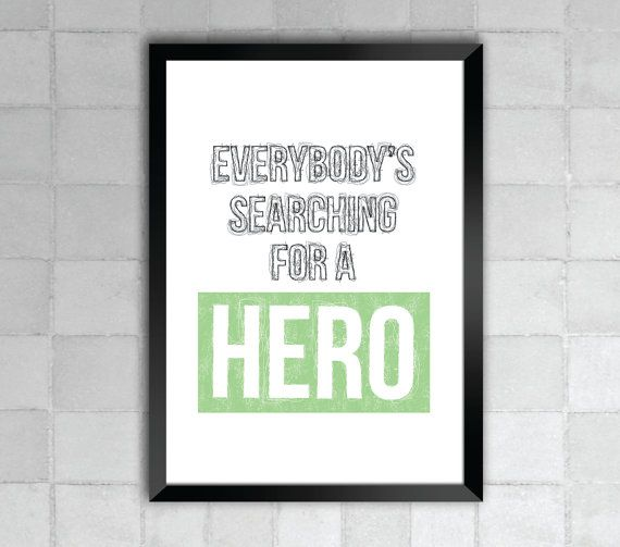 Whitney Houston Hero Song Lyric Quote 8x10 Typography by LyricWall