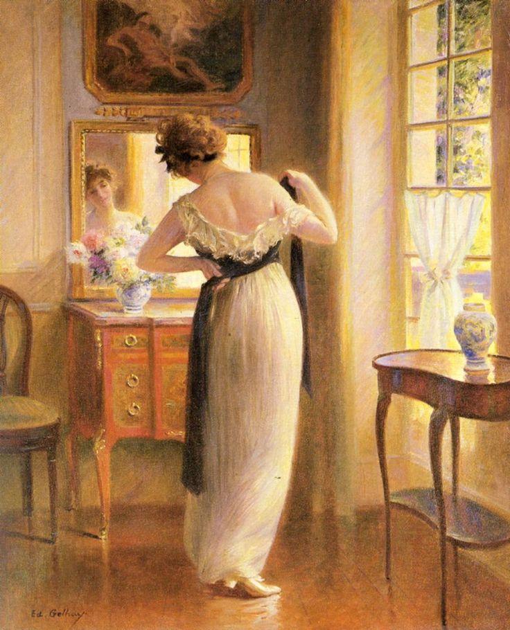 GYURKOVICS TIBOR: EGY TÜKÖR VOLTAM...  Egy tükör voltam a nagyszobában mindenki megigazította bennem magát milyen legyen a mosolya a válla a kontya  a nők negéddel nevetgéltek férfiak néztek bíztatón magam már eluntam a tükröt Befelé fordítom.  (Édouard Gelhay (1856-1939): The Reflection) (www.facebook.com/nemethgy1/photos)