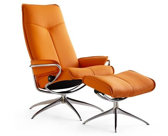 stressless city high back std base Fauteuil inclinable Stressless City standard base le confort associé à l'élégance ici en tissu orange.