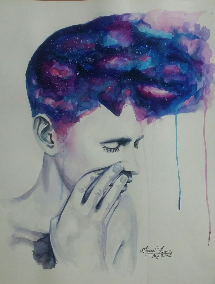 Galaxy boy watercolour by Susan Isaac