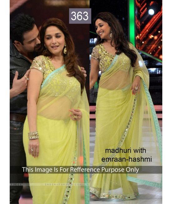 Bollywood Designer Party Wear Saree Madhuri Yellow Saree