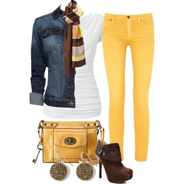 i do not like yellow but this outfit is so cute, Im gonna have to give this look a try..