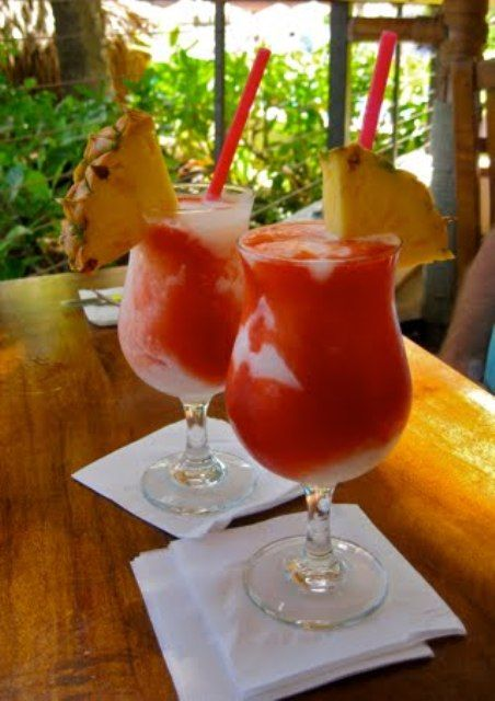 lava flow is a pina colada with strawberry. MMMMM: Summer Cocktails, Lava Flowing Drinks, Parties Drinks, Frozen Strawberries, Recipes, Coconut Rum, Coconut Cream, Favorite Drinks, Food Drinks