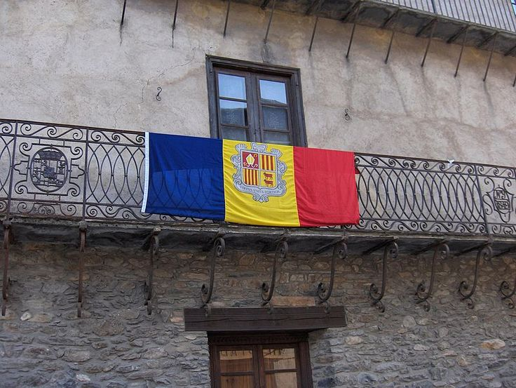 Andorran flag on balcony, Ordino