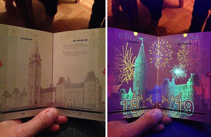 Canada's New Passport Reveals Hidden Images Under UV Light