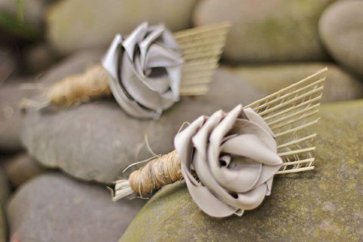 Rustic buttonholes with fan and natural twine on the stem.                                     www.flaxation.co.nz