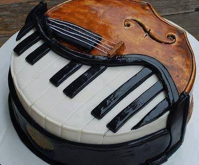 Music--Music--Hey ! This is a Music Themed Cake ! Piano+Violin=Perfect Match !!