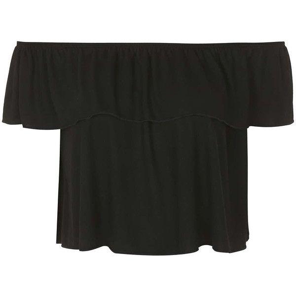 TOPSHOP Bardot Top ($18) ❤ liked on Polyvore featuring tops, shirts, crop top, black, black henley shirt, black shirt, men shirts, crop shirts e topshop tops